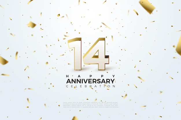 14th anniversary with scattered gold numbers and papers.