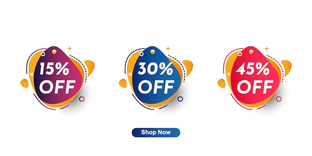 15%, 30%, 45% discount label collection