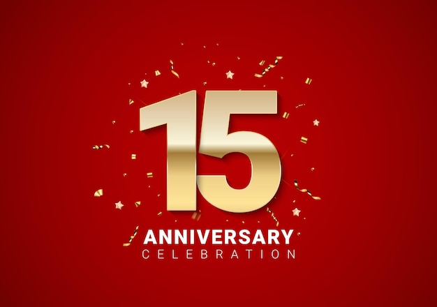 15 anniversary background with golden numbers, confetti, stars on bright red holiday background. vector illustration eps10