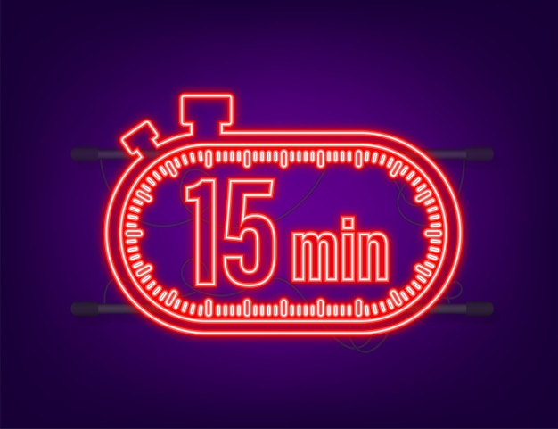 The 15 minutes, stopwatch vector neon icon. stopwatch icon in flat style, timer on on color background. vector illustration.