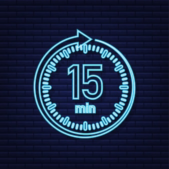 The 15 minutes stopwatch vector neon icon stopwatch icon in flat style
