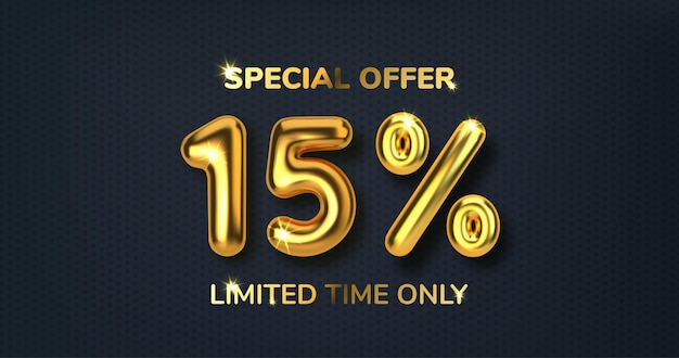 Скидка 15 на рекламную распродажу из реалистичных 3d золотых шаров