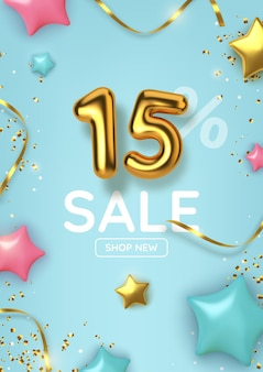 15 off discount promotion sale made of realistic gold balloons with stars