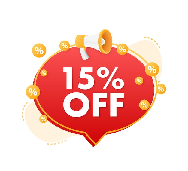 15 percent off sale discount banner with megaphone discount offer price tag