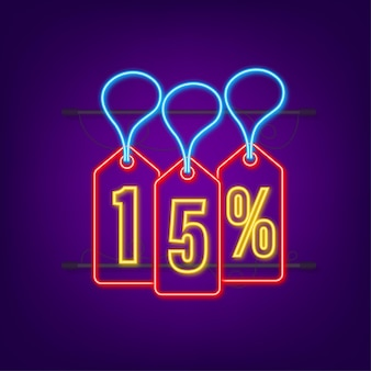 15 percent off sale discount neon tag discount offer price tag