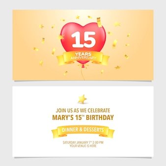 15 years anniversary invitation card vector illustration. design template element with romantic hot air balloon for 15th birthday or marriage party invite