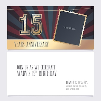 15 years anniversary invitation vector illustration graphic design element with photo frame  for 15th birthday card party invite
