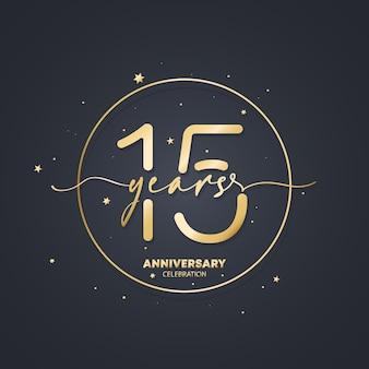 Шаблон логотипа юбилей 15 лет. 15 день рождения, значок годовщины свадьбы. модное изображение символа. вектор eps 10. изолированные на фоне.