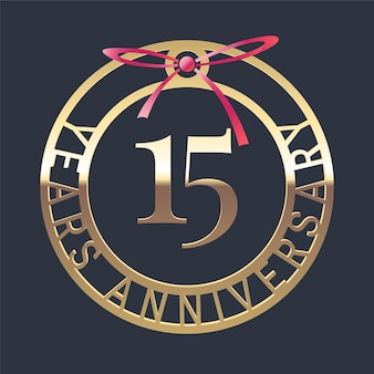 15 years anniversary, medal and red ribbon for 15th anniversary