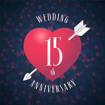 결혼 15 년 기념일 벡터 아이콘입니다. 15 주년 기념 결혼식을위한 붉은 색 하트와 화살표가있는 그래픽 디자인 요소