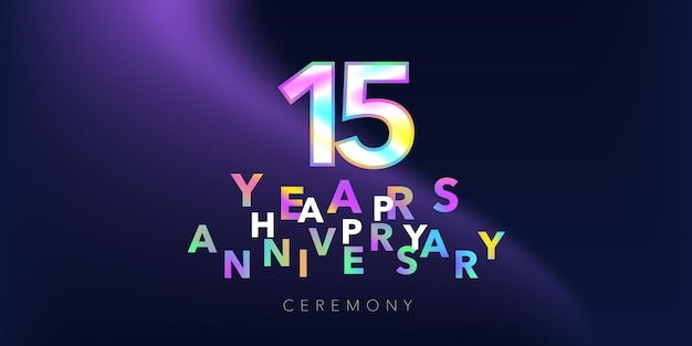 15 years anniversary vector logo, icon. design element with number and text for 15th anniversary greeting card or banner