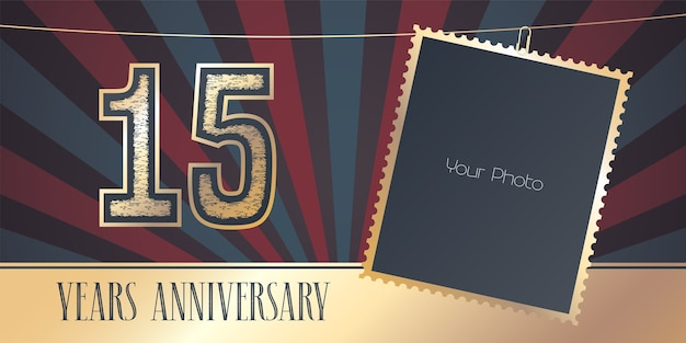 15 years anniversary with photo mockup in vintage style.