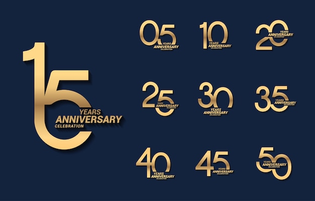 15 년 럭셔리 골드 기념일 번호 세트 로고