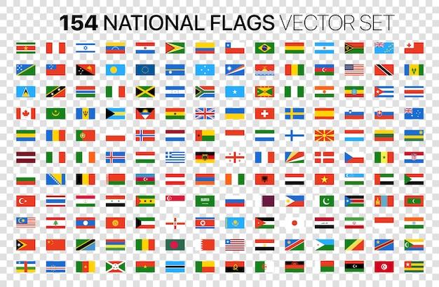 154 национальные флаги векторный набор изолированных на прозрачной