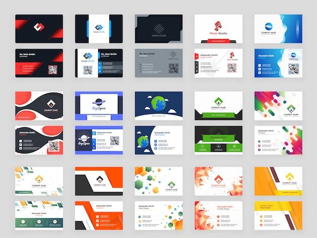 Творческий набор из 15 горизонтальных шаблонов визитных карточек
