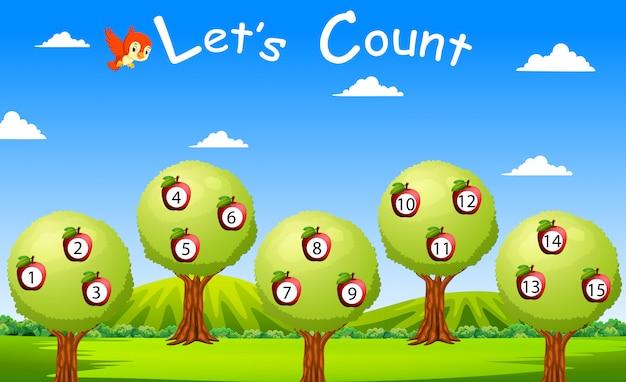 果物と木で15まで数えましょう