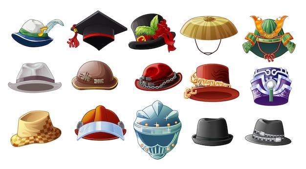 白い背景に漫画のスタイルで15種類の帽子。