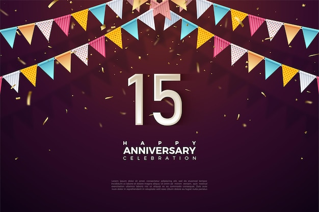 15th anniversary background with colorful flag illustration and numbers just below it.