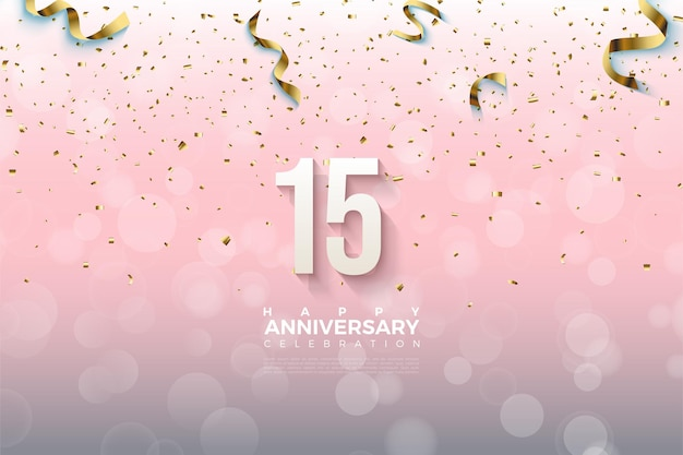 15th anniversary background with falling numbers and gold paper.