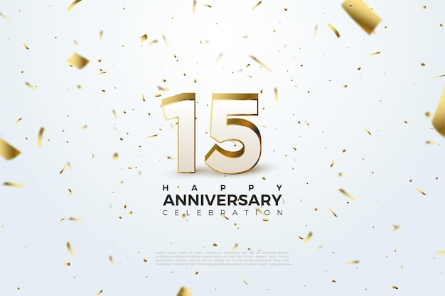 15th anniversary background with flying little gold paper illustrations.