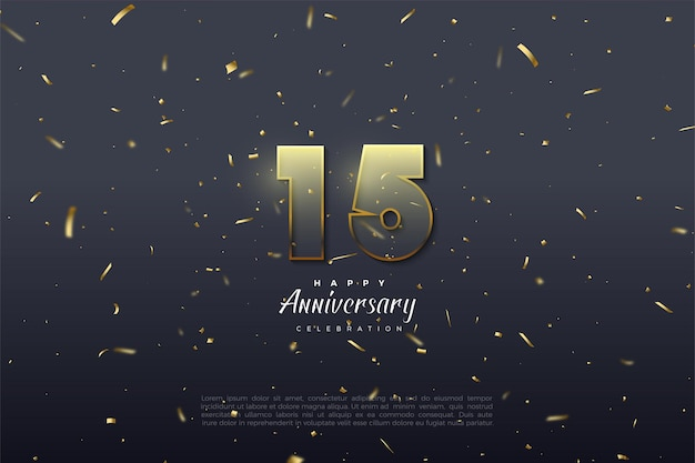 15th anniversary background with golden yellow graded numbers illustration and numbers with gold stripes.