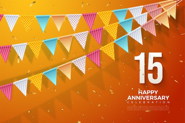 15th anniversary background with illustration of numbers and three rows of colorful flags.