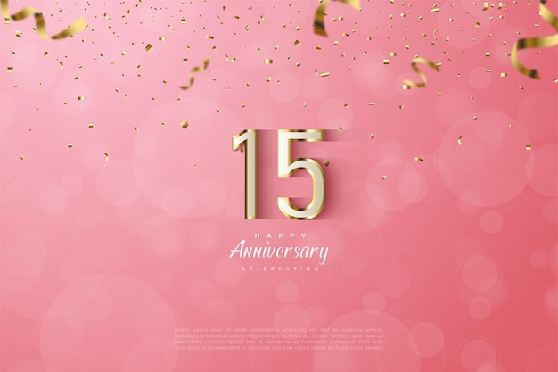 15th anniversary background with luxury gold numerals illustration on pink background