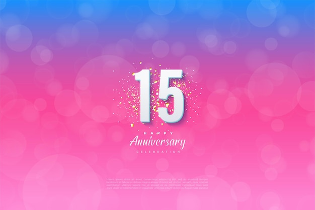 15th anniversary background with numbers and background graded from blue to pink.