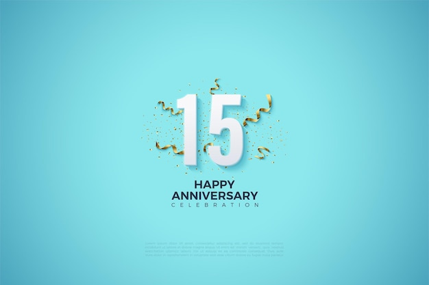 15th anniversary background with numbers on a clear sky blue background.
