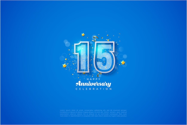 15th anniversary background with numbers outlined in white on a blue background.