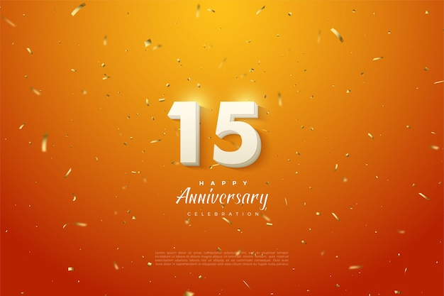 15th anniversary background with shiny silver plated numerals illustration