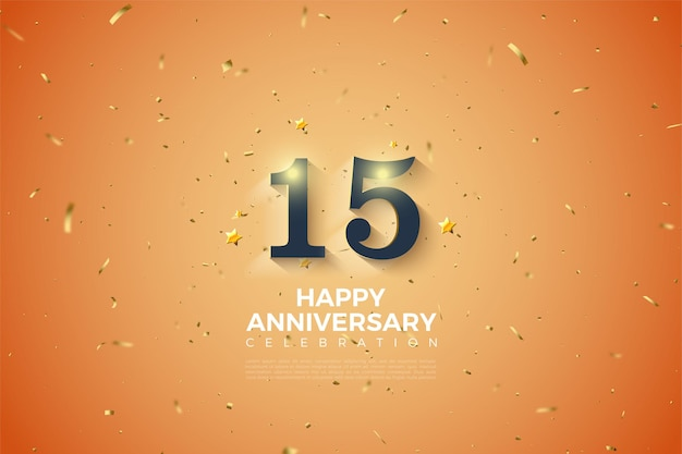 15th anniversary background with soft white shaded numbers illustration.
