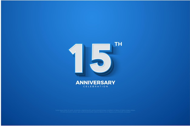15-летие синий фон с белыми буквами и цифрами