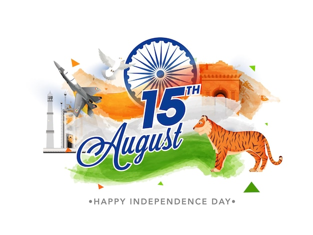 15th august font with tiger animal, fighter jet, dove flying and tricolor brush effect on famous monument for independence day concept.