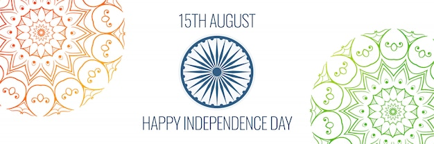 15th of august independence day banner in creative style