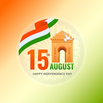 15th august, independence day concept with india gate, dove flying, tricolor ribbon on orange and green background.