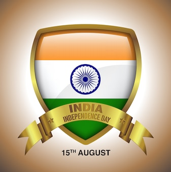 15th august india independence day in gold badge with ribbon