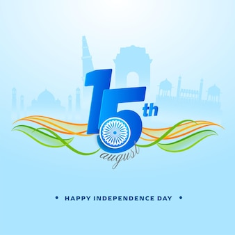 15th august text with ashoka wheel, abstract waves on blue silhouette famous monument background for happy independence day concept.