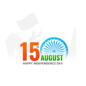 15th august text with ashoka wheel, silhouette human holding flag and india famous monument on white background.