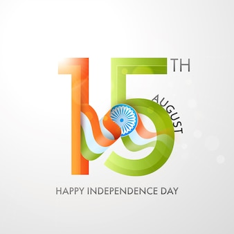 15th august text with indian flag ribbon on white background for happy independence day concept.
