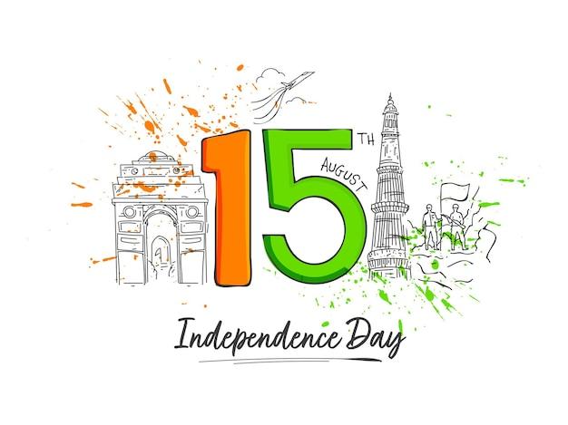 8月15日独立記念日のコンセプトの白い背景に旗を保持している有名な記念碑と兵士をスケッチしたテキスト。