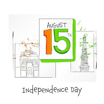8月15日独立記念日のコンセプトの白い背景に有名な記念碑をスケッチしたテキスト。