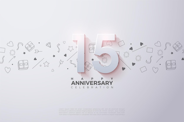 15thanniversary background with numbers and bright white background.