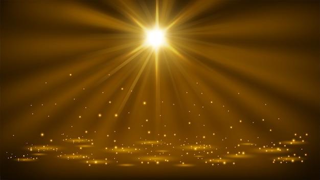 Золотые прожекторы, сияющие блесками 16: 9 соотношение сторон