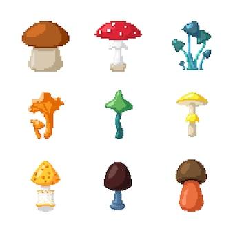 16 бит 16 бит 8 бит дизайн коллекции фона съедобные грибы элемент мухоморы