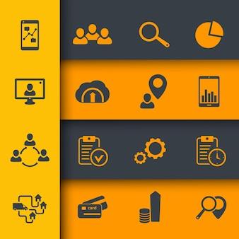 16 business, finance icons set for web, vector illustration