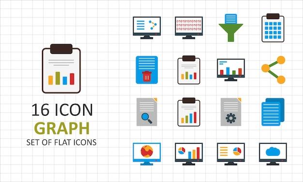 16 graph flat icon sheet pixel perfect иконки