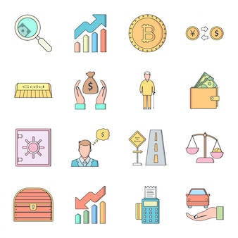 16 icon set of banking for personal and commercial use