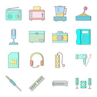 16 icon set of electronic devices for personal and commercial use
