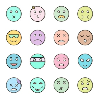 16 icon set of emoji for personal and commercial use